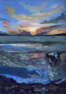 """Last Light, Dunmanus Bay"" Oil on paper, 8"" x 12"""