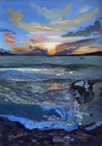 """Last Light, Dunmanus Bay"" Oil on paper, 8"" x 12"""