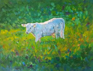 """Calf in the Field"" Acrylic on Paper 6"" x 7"""