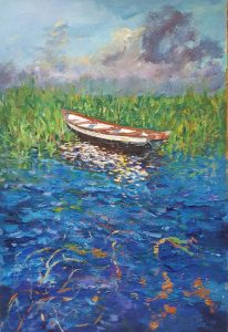 """Boat in the Reeds"" Acrylic on Paper 25"" x 14"""
